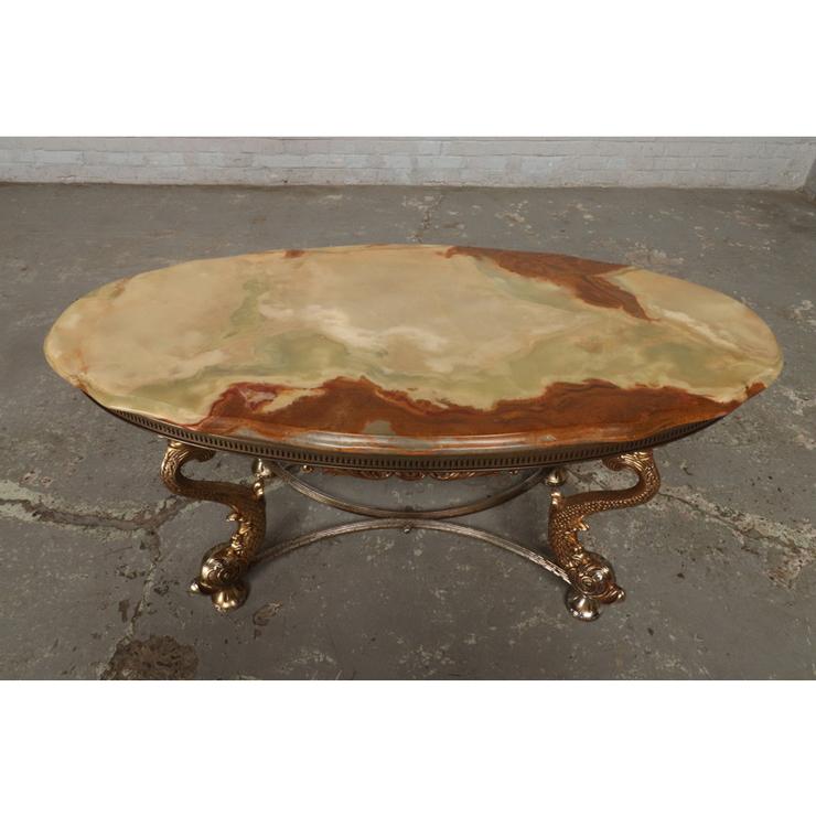 #9322 ヨーロッパ市場在庫品 アンティーク家具 コーヒーテーブル 1950年代 イタリア原産 ブロンズ/天板大理石製_画像2
