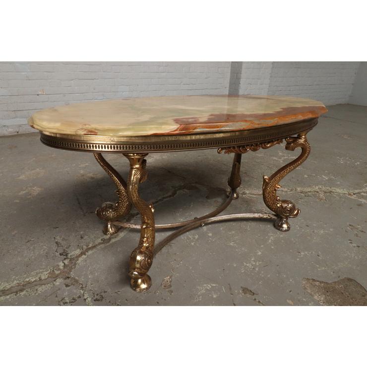#9322 ヨーロッパ市場在庫品 アンティーク家具 コーヒーテーブル 1950年代 イタリア原産 ブロンズ/天板大理石製_画像1