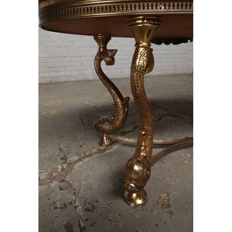 #9322 ヨーロッパ市場在庫品 アンティーク家具 コーヒーテーブル 1950年代 イタリア原産 ブロンズ/天板大理石製_画像3