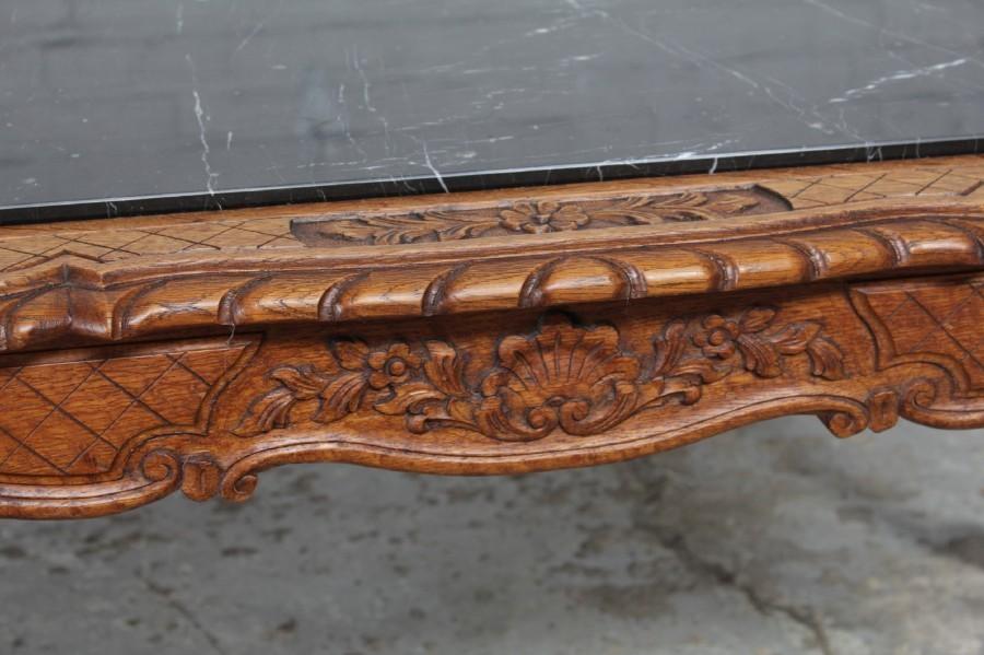 #8227 ヨーロッパ市場在庫品 アンティーク家具 コーヒーテーブル 1920年代 ベルギー原産 オーク/天板大理石製_画像9