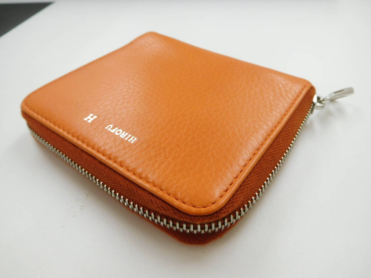 ★【HOROFU】未使用 ヒロフ ラウンドファスアー コンパクト財布 レザー オレンジ_画像3