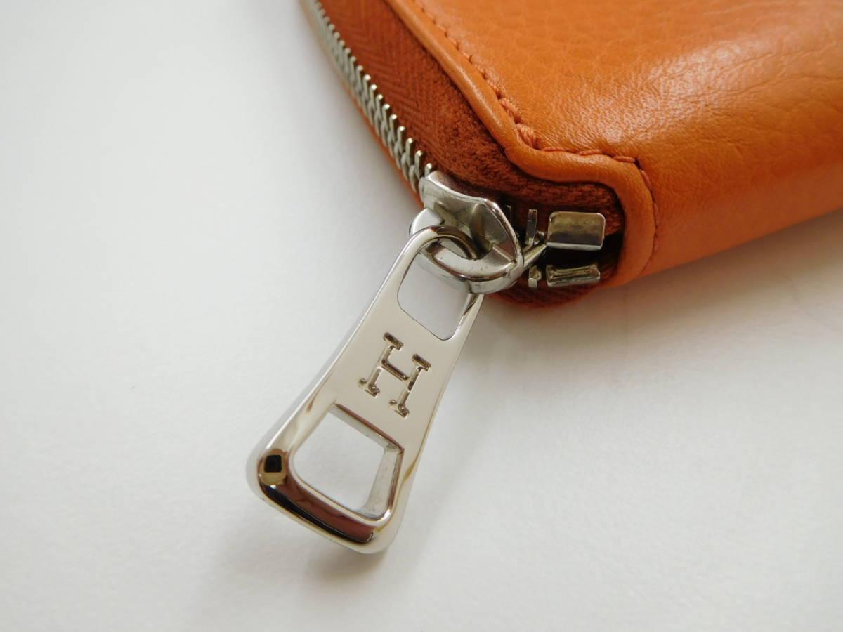 ★【HOROFU】未使用 ヒロフ ラウンドファスアー コンパクト財布 レザー オレンジ_画像4