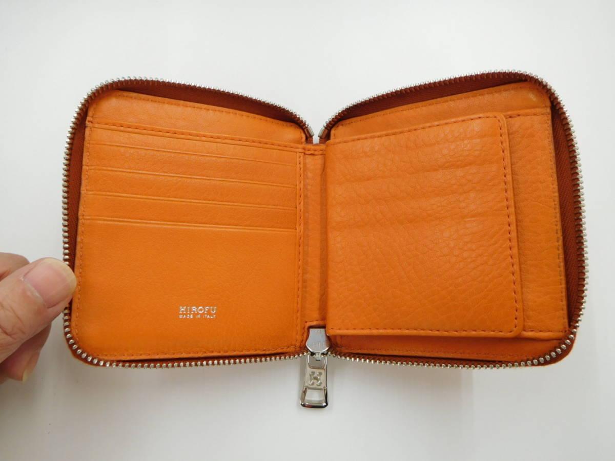 ★【HOROFU】未使用 ヒロフ ラウンドファスアー コンパクト財布 レザー オレンジ_画像5