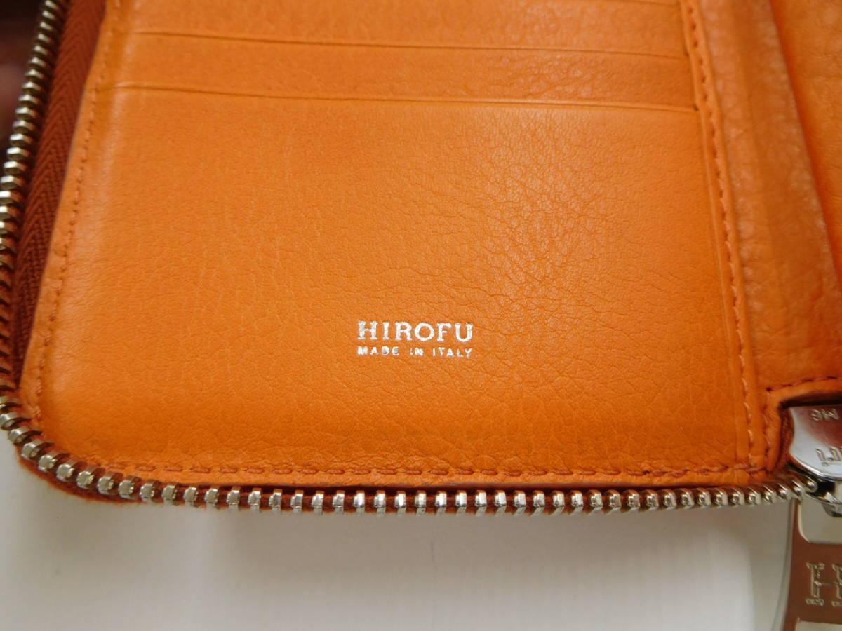 ★【HOROFU】未使用 ヒロフ ラウンドファスアー コンパクト財布 レザー オレンジ_画像6