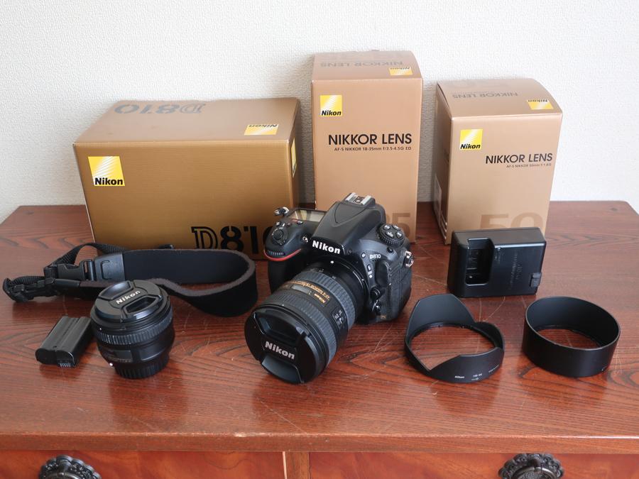 売り切り フルサイズ NIKON D810 レンズ 2本 すぐ使えます! 18-35mm f/3.5-4.5G ED 50mm f/1.8G バッテリー2個 NIKKOR 状態良 まとめて