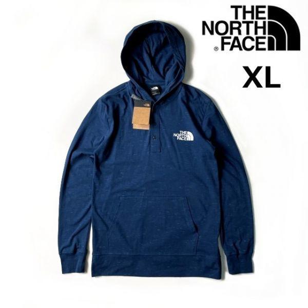 1円~!売切!【正規新品】THE NORTH FACE Henley New Injected Pullover Hoodie 長袖Tシャツ ロンT フード US限定 シンプル(XL)青180902-m20