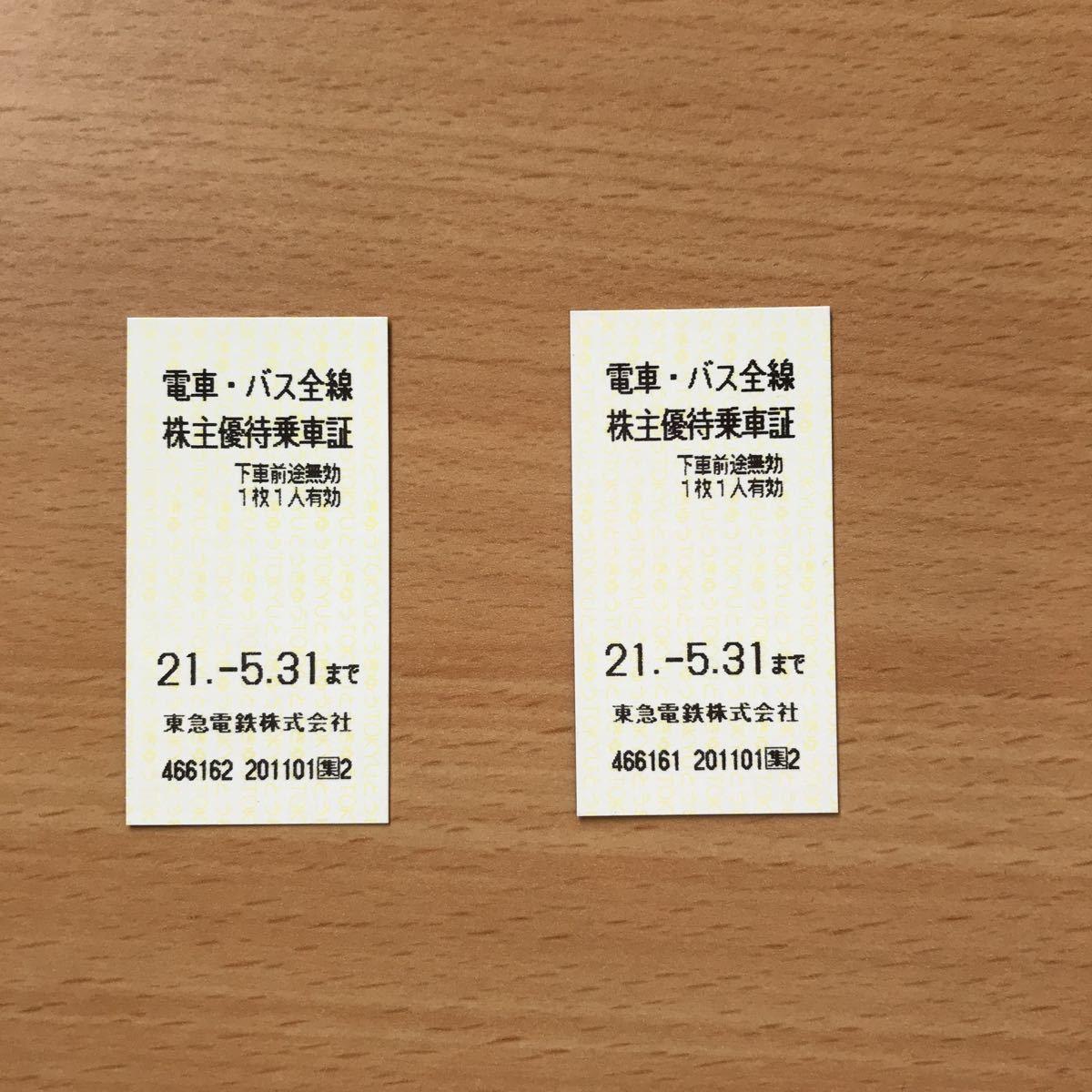 東急電鉄★株主優待乗車証 乗車券 2枚 ※有効期限 2021年5月31日_画像1