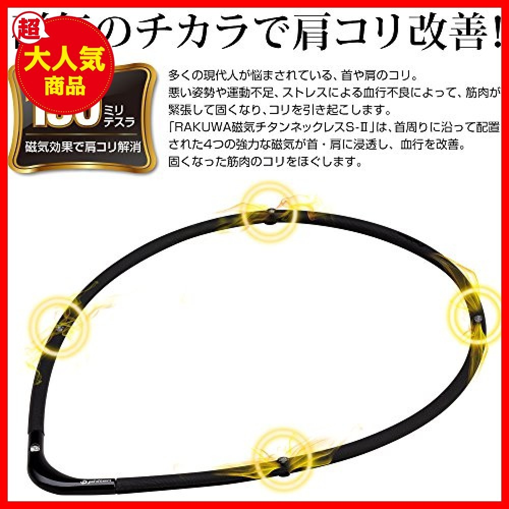 【バーゲン!!】ブラックXブラック 55cm ファイテン(phiten) ネックレス RAKUWA 磁気チタン2402180_画像2
