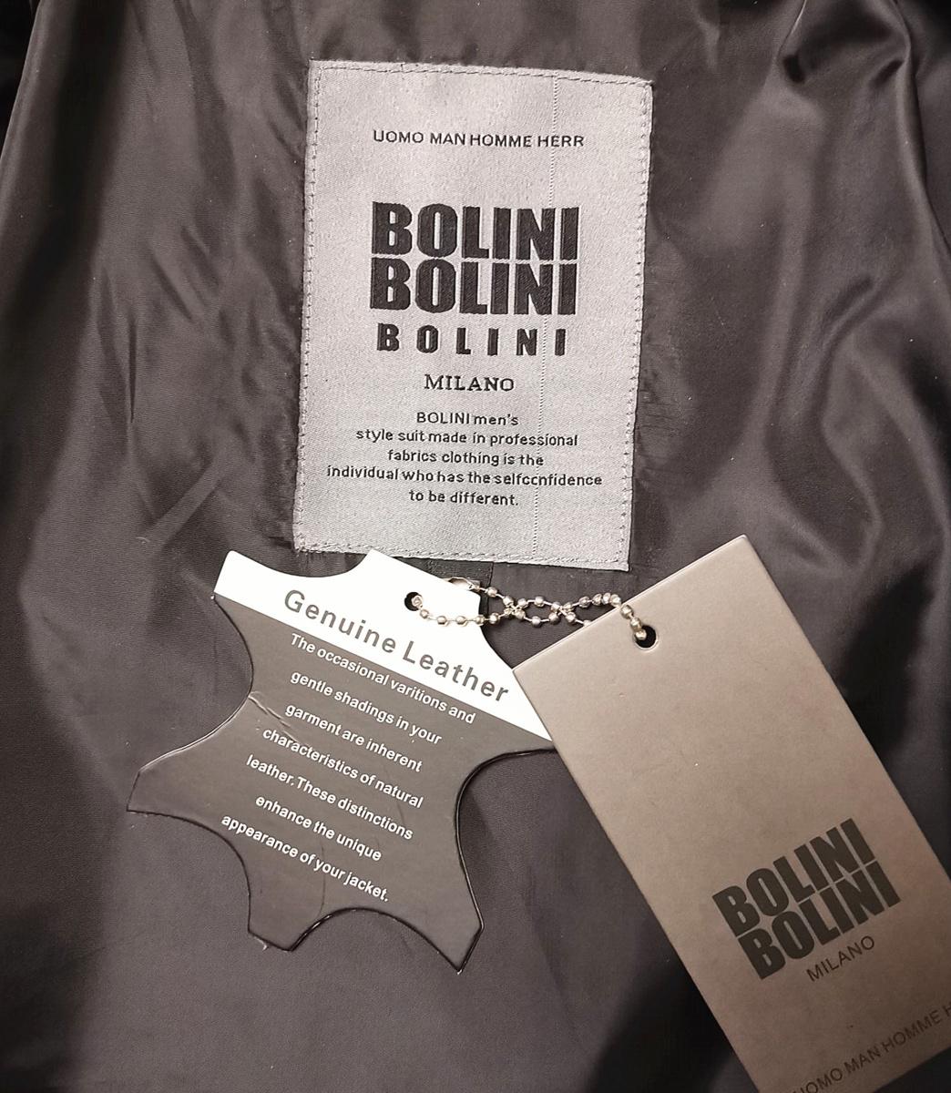 最高級ヨーロッパ製◆イタリア・ミラノ発*BOLINI*ブラックラインdesigner 最上級イタリアン牛革・レザージャケット・本格ライダース/XL_画像3