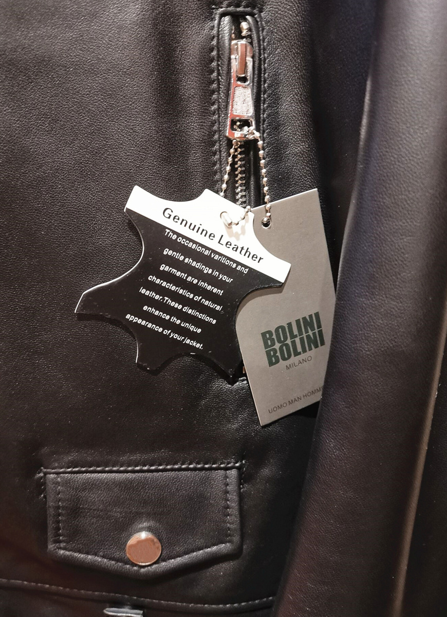 最高級ヨーロッパ製◆イタリア・ミラノ発*BOLINI*ブラックラインdesigner 最上級イタリアン牛革・レザージャケット・本格ライダース/XL_画像6