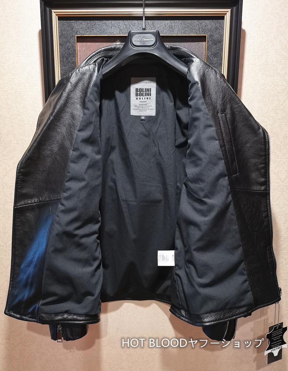 最高級ヨーロッパ製◆イタリア・ミラノ発*BOLINI*ブラックラインdesigner 最上級イタリアン牛革・レザージャケット・本格ライダース/XL_画像8
