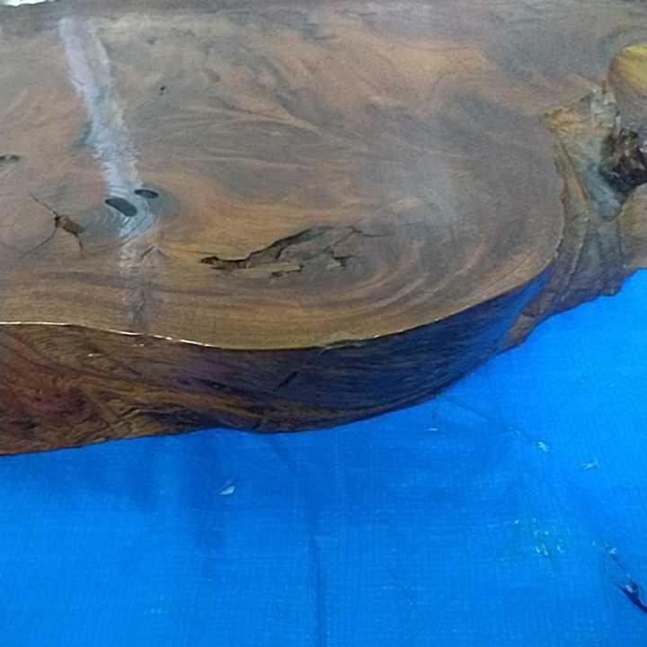 花台 無垢材 一枚板 床の間 和室 飾り台 盆栽台 天然木 自然木 幅約67cm 厚さ約6cm 重さ約8kg 杢 古道具 引取歓迎 八王子_画像6