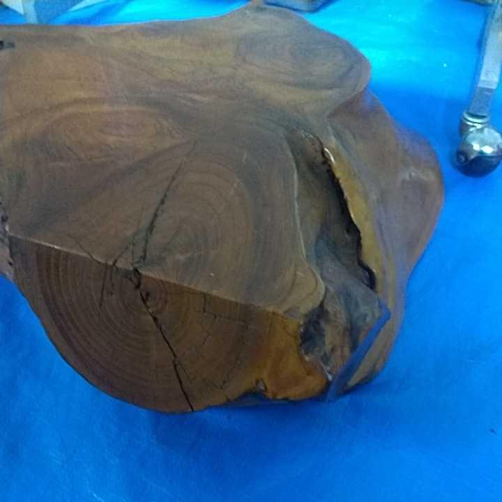花台 無垢材 一枚板 床の間 和室 飾り台 盆栽台 天然木 自然木 幅約63cm 厚さ約16cm 重さ約12kg 杢 古道具 引取歓迎 八王子_画像4