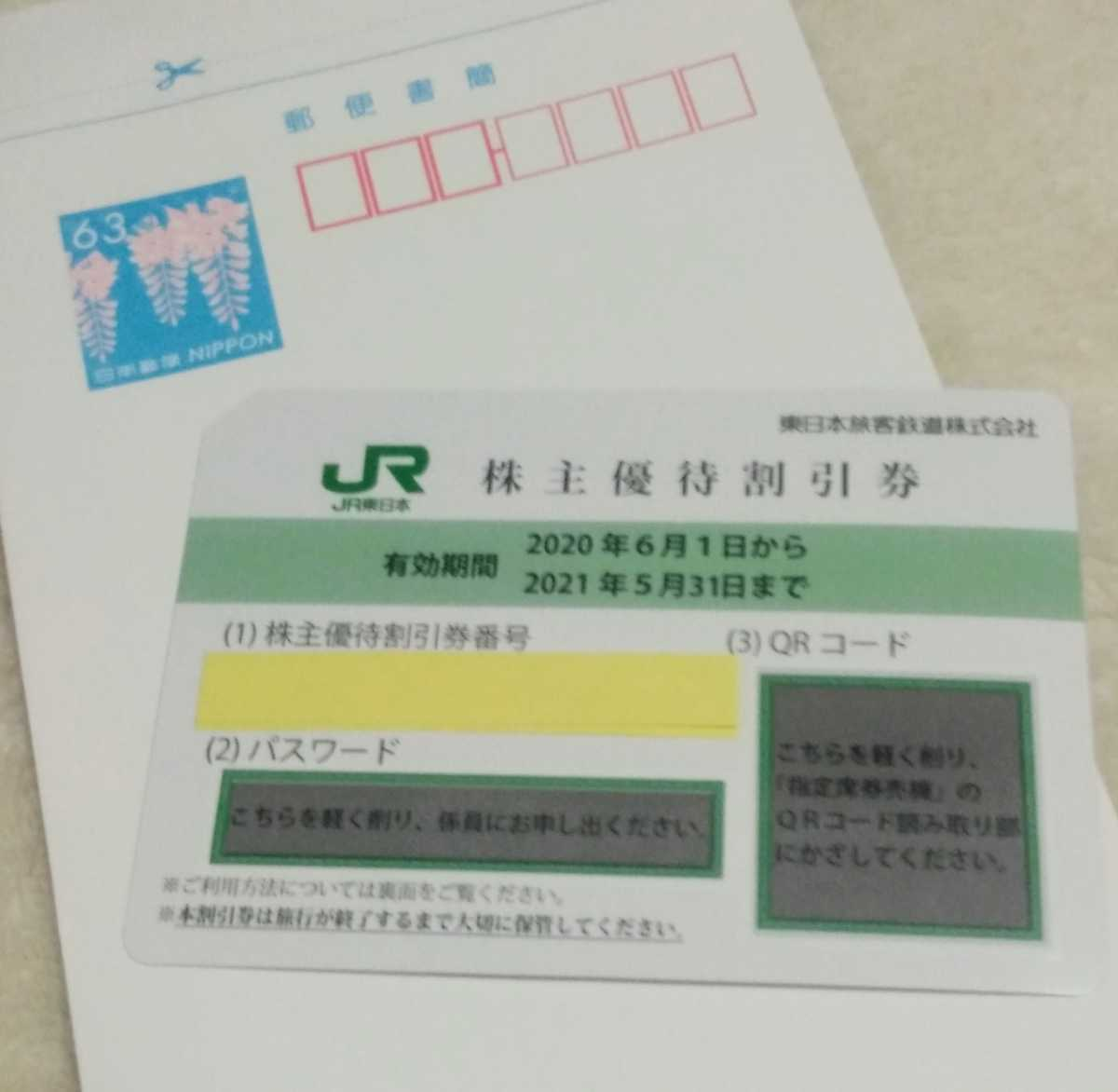 JR東日本旅客鉄道 株主優待券(4割引)5枚まで_画像1