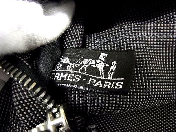 1円 ■美品■ HERMES エルメス エールラインMM キャンバス シルバー金具 トートバッグ ハンドバッグ 手提げかばん グレー系 L7453uA_画像9