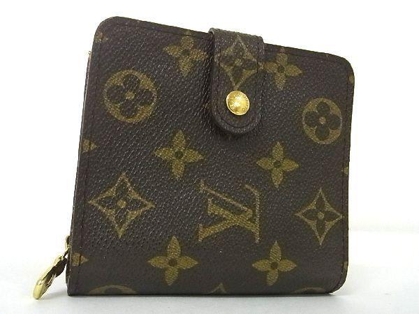 1円 ■極美品■ LOUIS VUITTON ルイヴィトン M61667 モノグラム コンパクトジップ 二つ折り 財布 ウォレット エベヌ ブラウン系 K4613JL