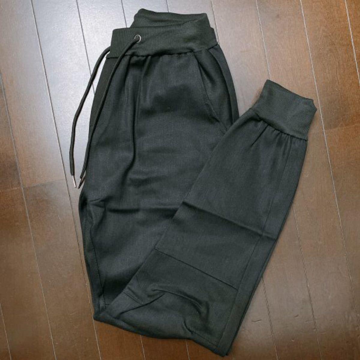 メンズ デニムジョガーパンツ スキニー ジーンズ デニム調 ブラック XL.