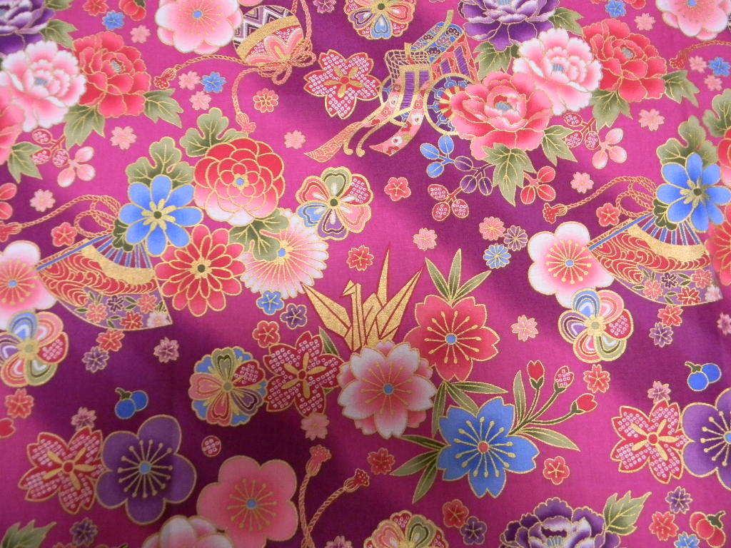 和柄生地 はぎれ◆花柄 紫ピンク◆約113×50cm位