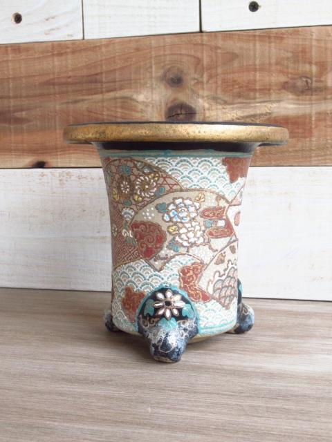 蘭鉢 三足 金彩 色絵 植木鉢 アンティーク レトロ