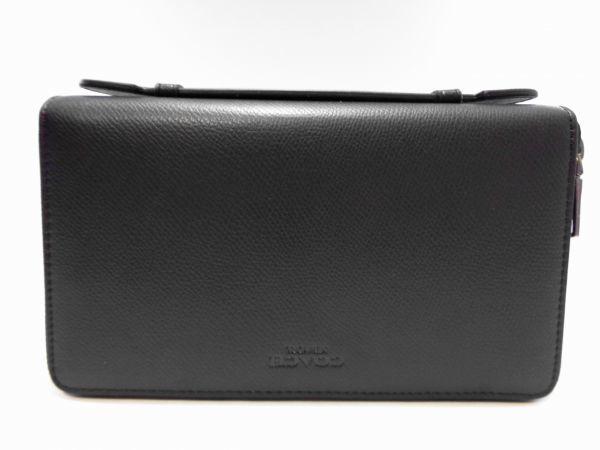新品定価約3万 新品 同様 未使用 コーチ COACH ダブルジップ トラベル オーガナイザー長財布 ブラック 黒 レザー メンズ レディース(62)E