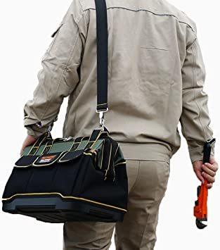 ☆○☆29x19x19CM YZL ツールバッグ 工具袋 ショルダー ベルト付 肩掛け 手提げ 大口収納 差し入れ 底部特化 プ_画像7