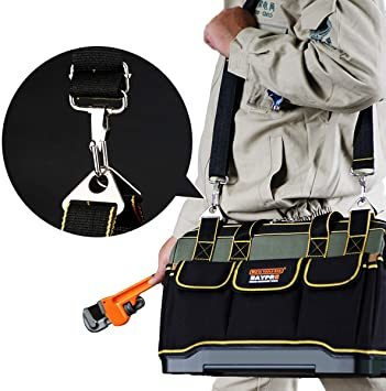 ☆○☆29x19x19CM YZL ツールバッグ 工具袋 ショルダー ベルト付 肩掛け 手提げ 大口収納 差し入れ 底部特化 プ_画像6