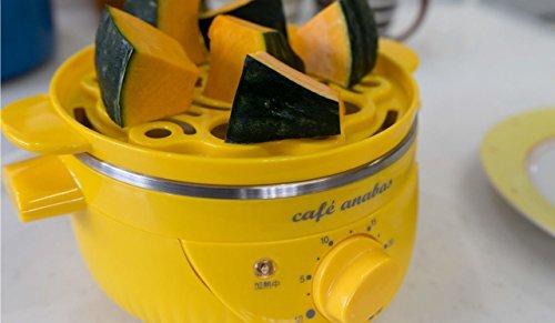 □○☆1)1段・イエロー ANABAS スチームクッカー ゆで玉子名人 かんたん蒸し器 ゆで卵メーカー タイマー付き イエロー _画像6