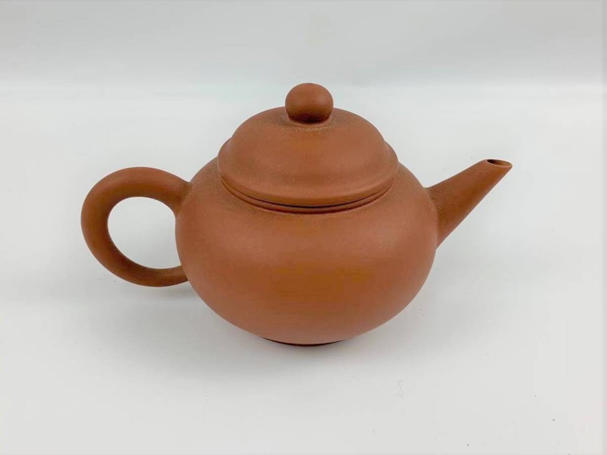 Z11中国宜興 朱泥 急須 紫砂壺 茶器 湯沸 中国美術 中国古玩 唐物煎茶道具 H:7cm Φ:5.5cm_画像3