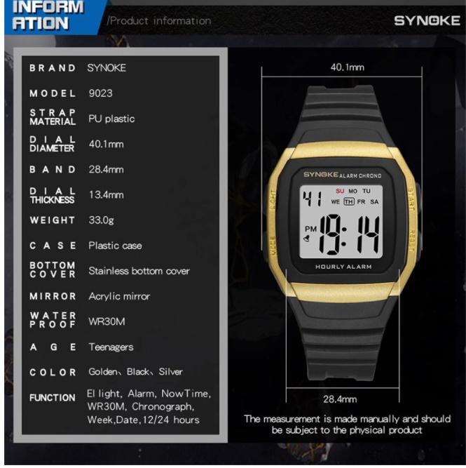 Synokeメンズ腕時計 多機能スポーツ電子時計 男性 防水_画像6