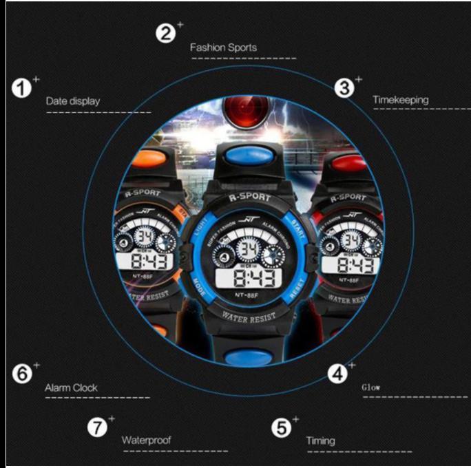 防水メンズ腕時計 デジタルled表示アラーム日付スポーツシリコーン腕時計 男性スポーツ腕時計_画像3