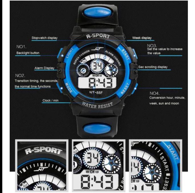 防水メンズ腕時計 デジタルled表示アラーム日付スポーツシリコーン腕時計 男性スポーツ腕時計_画像2
