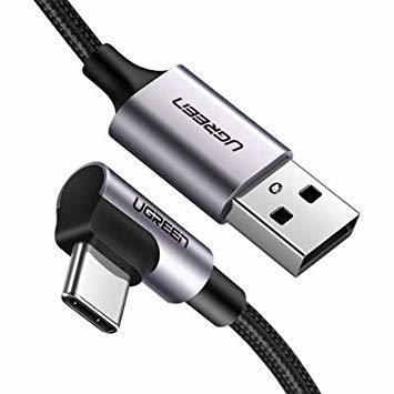 3m UGREEN USB Type C ケーブル L字ナイロン編み 3A急速充電 Quick Charge 3.0/2.0対応_画像1