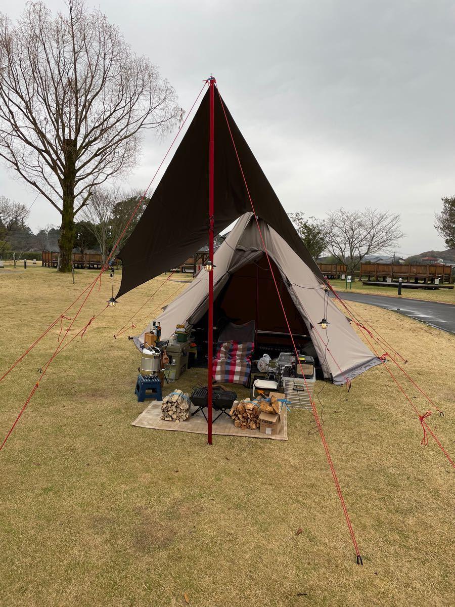 クイックキャンプ TCワンポールテント グレー TCタープ アルミポール セット
