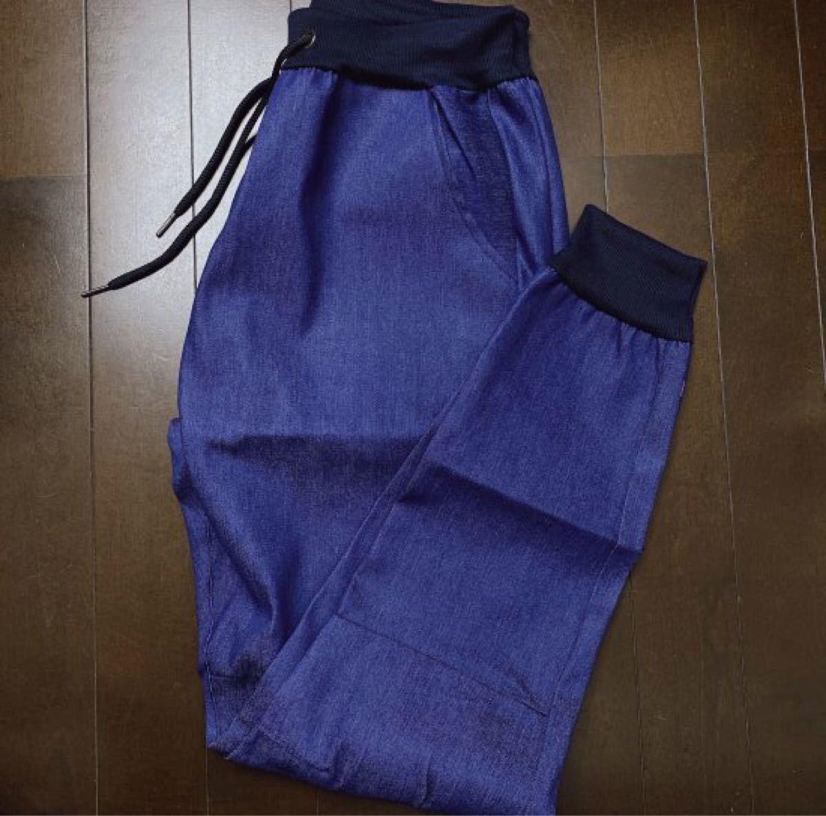 【大人気!】メンズ ジョガーパンツ ジーンズ デニム調 ブルー F135 デニムパンツ