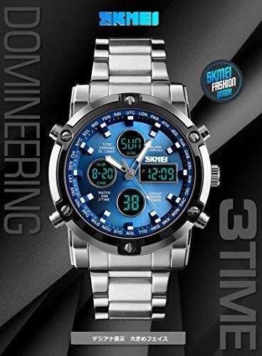 HINICE ホワイト/ホワイト メンズ腕時計 デジアナ腕時計クロノグラフ ビジネス用 カジュアル アラム機能 カレンダー 曜日_画像2