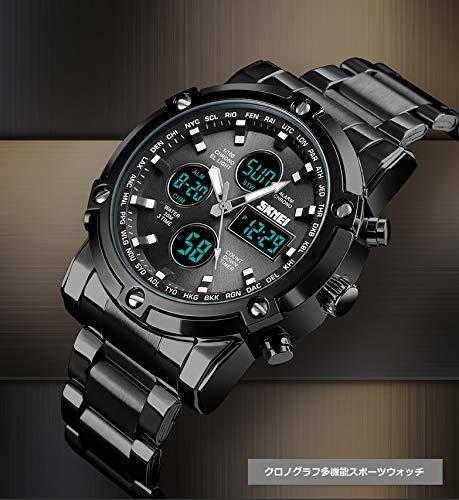 HINICE ホワイト/ホワイト メンズ腕時計 デジアナ腕時計クロノグラフ ビジネス用 カジュアル アラム機能 カレンダー 曜日_画像3