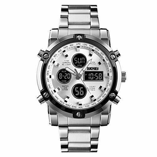 HINICE ホワイト/ホワイト メンズ腕時計 デジアナ腕時計クロノグラフ ビジネス用 カジュアル アラム機能 カレンダー 曜日_画像1