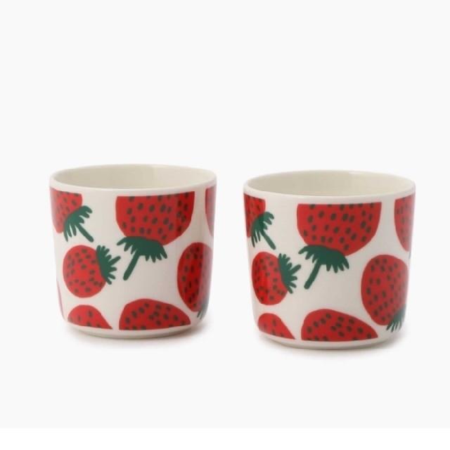 未使用新品 marimekko Mansikka コーヒーカップ 2個セット マリメッコ マンシッカ ラテマグ_画像2
