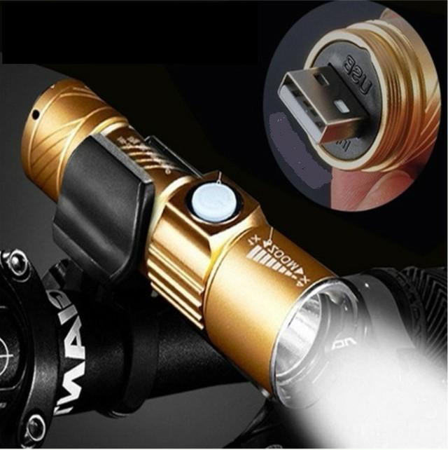 ☆ホルダー付き サイクリング &アウトドア USB充電 懐中電灯 led 強力 防水 金