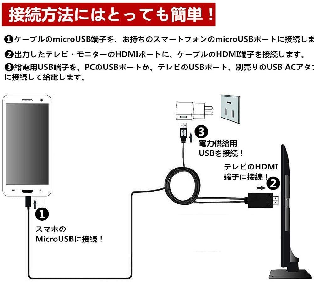 新品即納 Micro USB HDMI 変換 アダプター MHL変換ケーブル MHL機種専用 スマホ テレビ 接続 205M_画像4