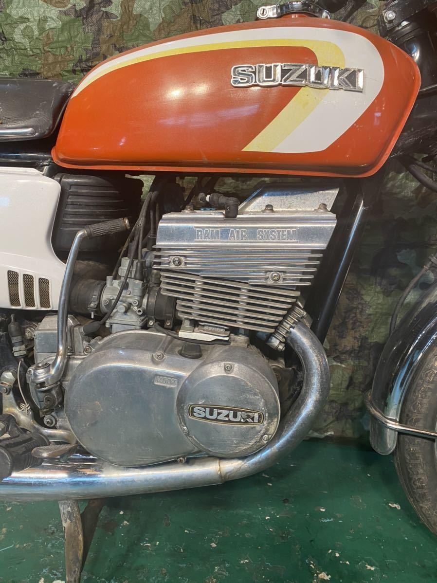 「【登録書類有】【レストアベース】初期型 SUZUKI GT380 1972年10月 オリジナルマフラー GT/サンパチ/旧車/希少」の画像3