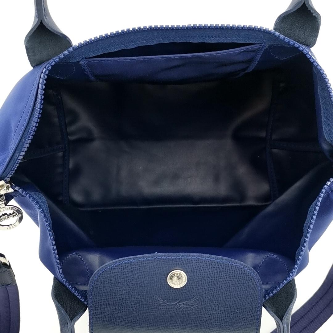 送料無料 超美品 ロンシャン LONGCHAMP ハンドバッグ トートバッグ ショルダーバッグ 鞄 2WAY ル プリアージュ ナイロン 紺系 レディース_画像9
