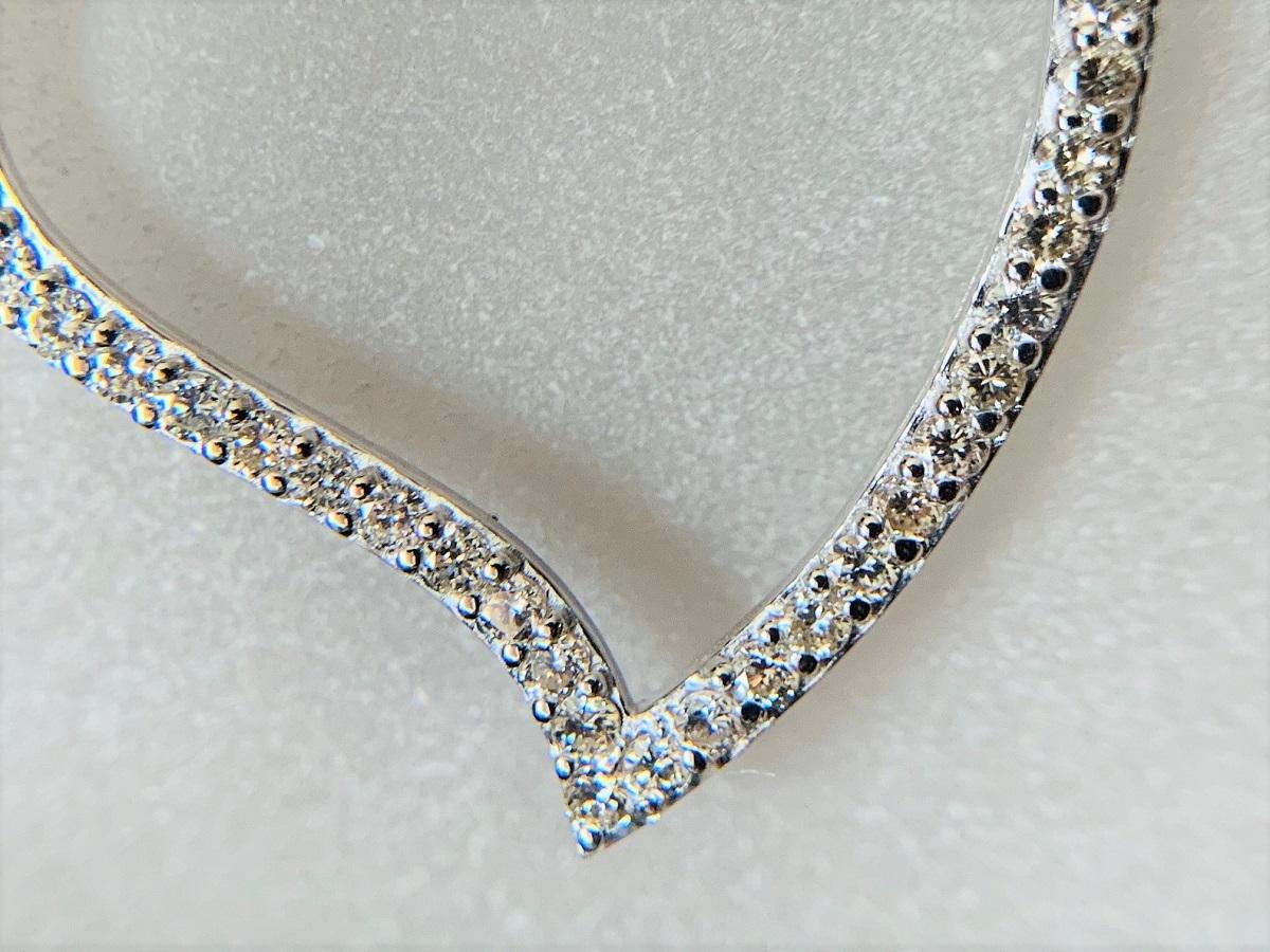 ☆税込☆<K18WG 7.0g>1.00ctダイヤモンドネックレス 大きなハート_画像8