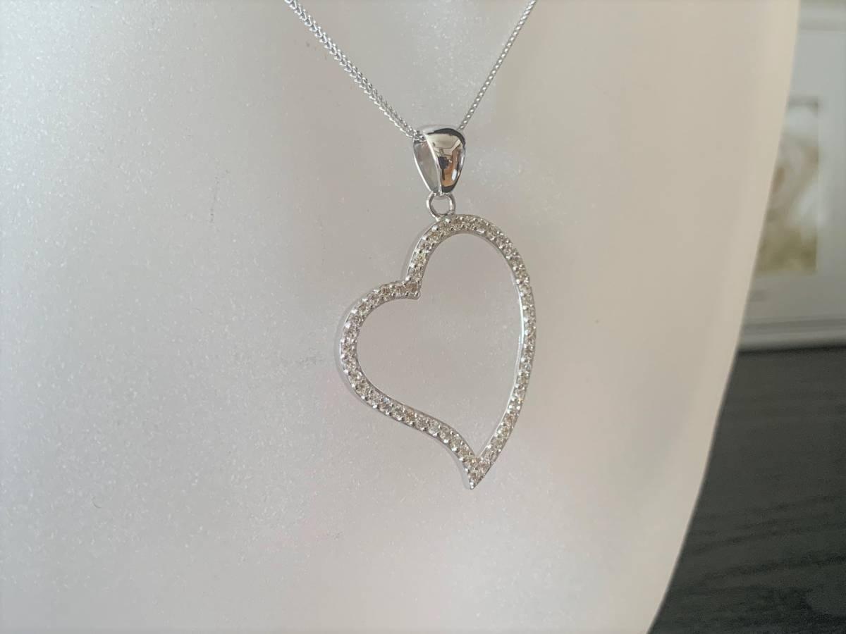 ☆税込☆<K18WG 7.0g>1.00ctダイヤモンドネックレス 大きなハート_画像4