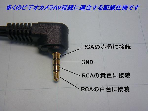 ★AVケーブル 3.5mmミニジャック-RCA×3 ビデオカメラ用★_ ビデオカメラ用配線接続です