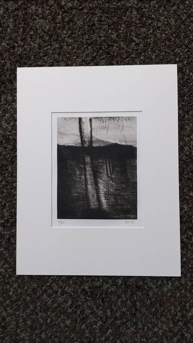 赤塚祐二 『 tree 』 銅版画 直筆サイン入り  1995年制作  限定15部  額装  【真作保証】 さし箱付き_画像8