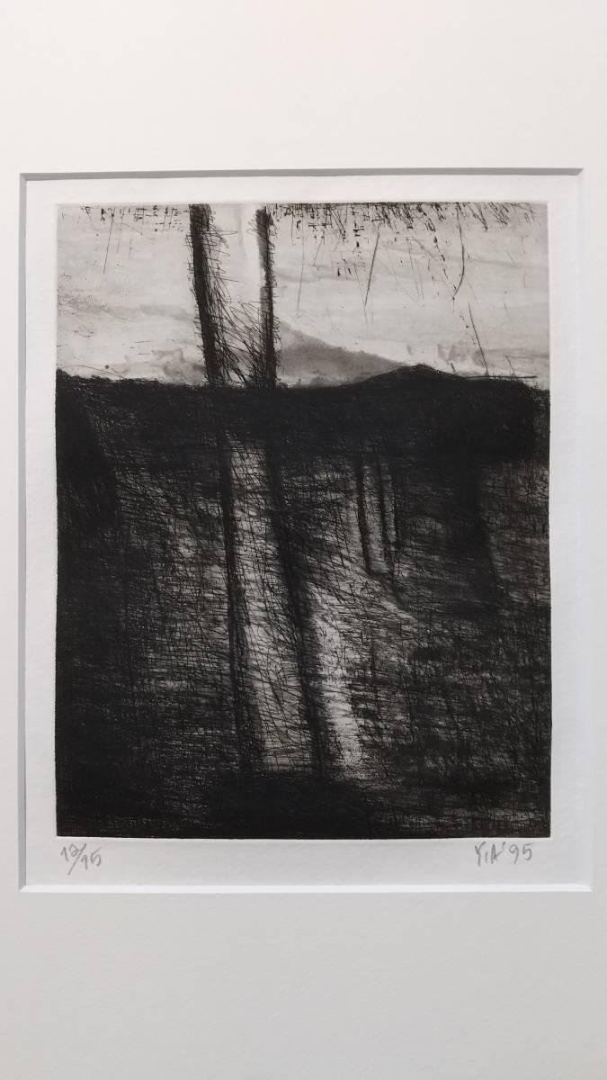 赤塚祐二 『 tree 』 銅版画 直筆サイン入り  1995年制作  限定15部  額装  【真作保証】 さし箱付き_画像2