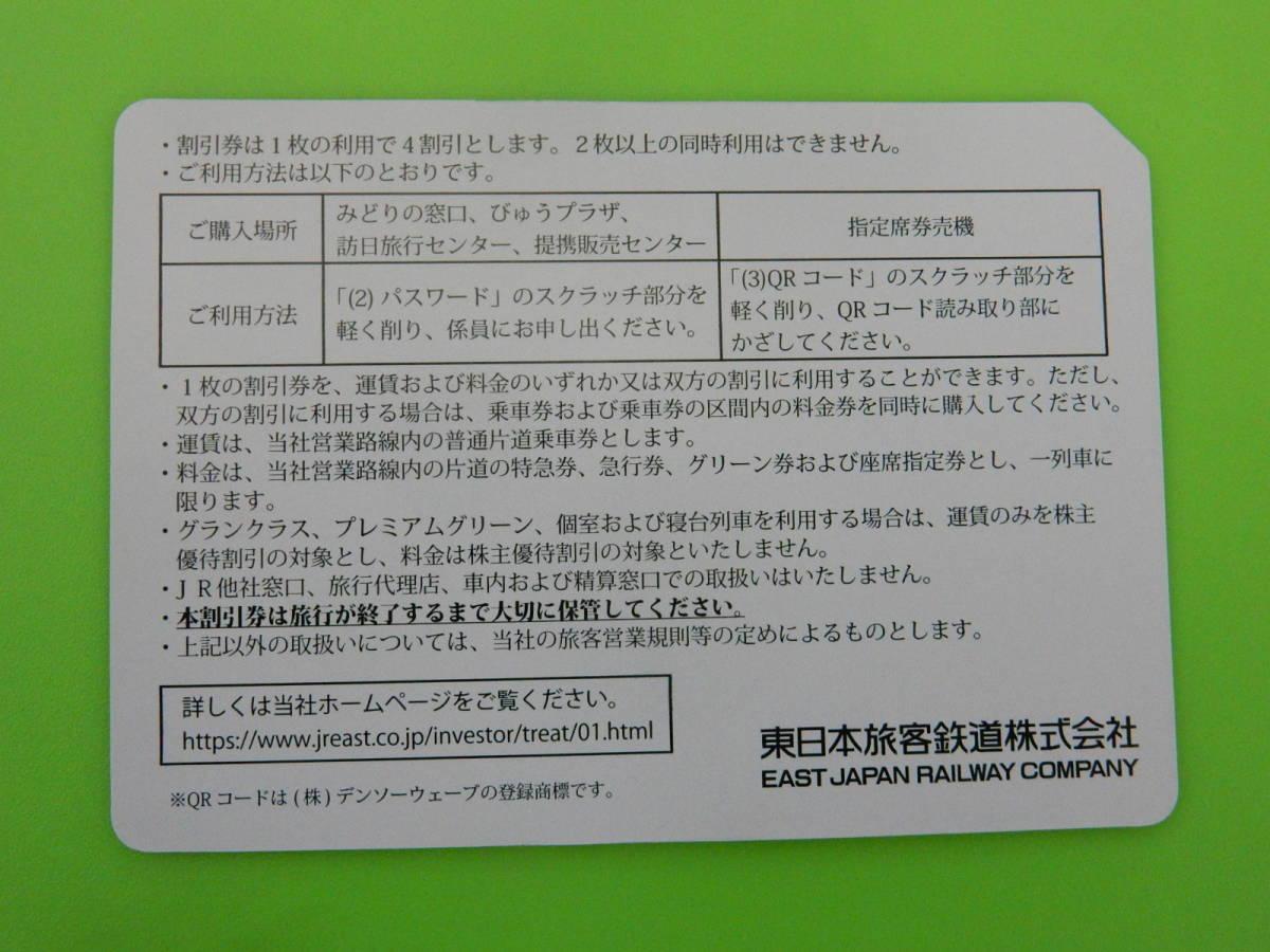 ◆JR東日本◆ 4割引 株主優待割引券 1 枚 株主優待券 東日本旅客鉄道(定形外のみ送料無料)_画像2