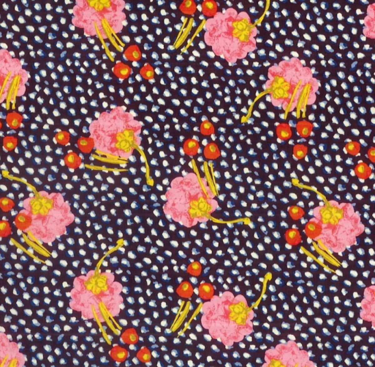 リバティ ジュニパー ピンク&ネイビー 生地幅×200cm 国産タナローン はぎれ お花
