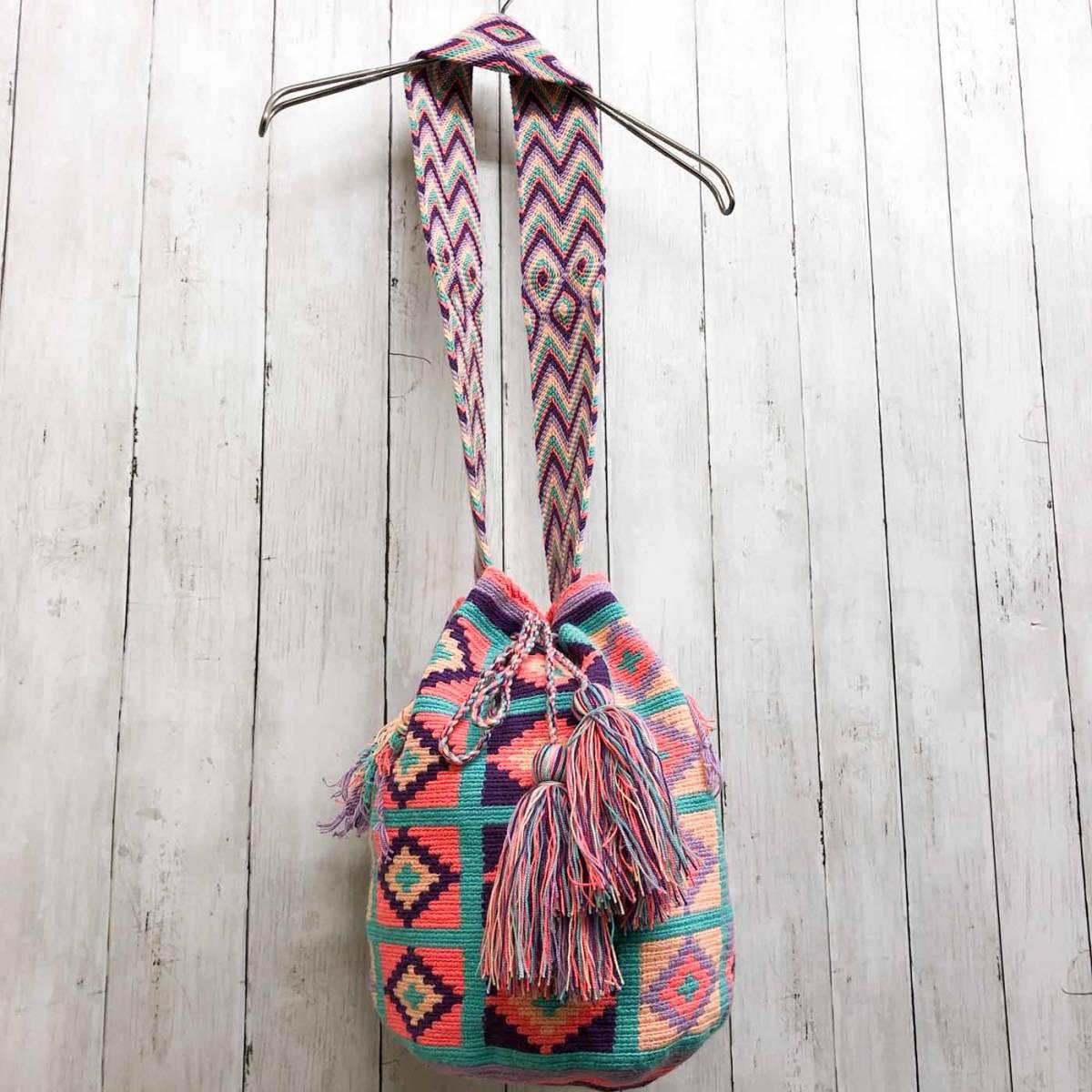 ワユーバッグ wayuu bag マザーズバッグ ショルダーバッグ レディース かごバッグ きれいめ ハンドメイド 手織り 南米 コロンビア 3_画像1